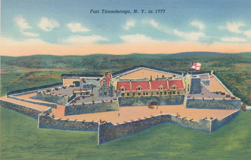 Fort Ticonderoga, New York - Model as it appeared in 1777 - Linen Card
