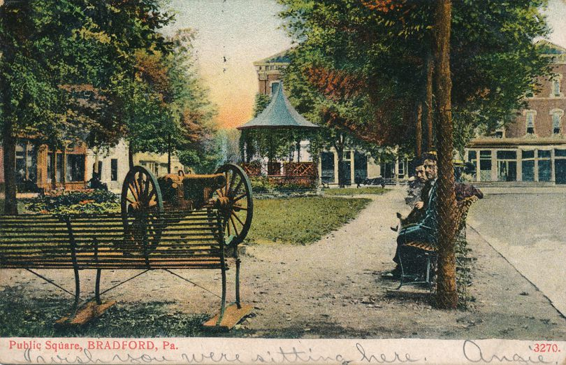 Bradford, Pennsylvania - Public Square - Cannon and Band Stand - pm 1907 - Undivided Back