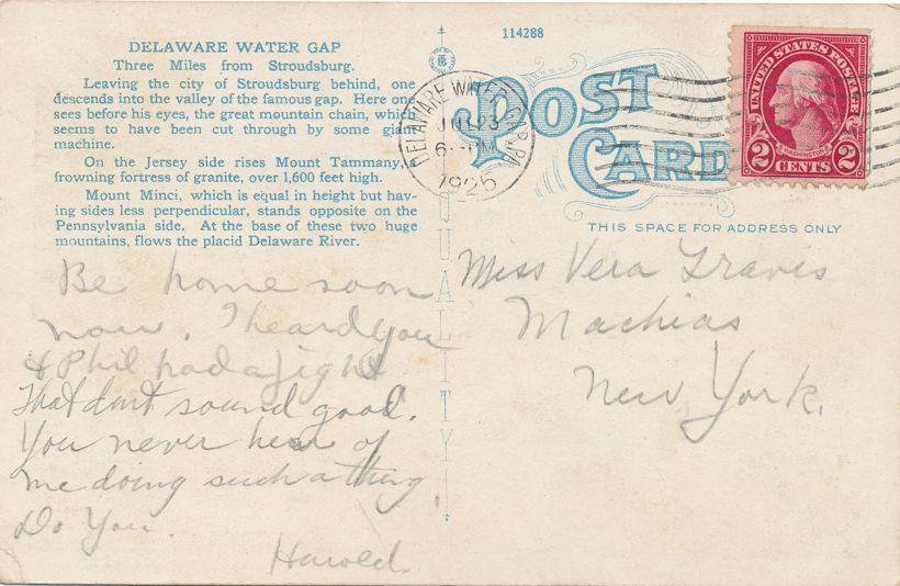 Delaware Water Gap, Pennsylvania - Three Mountain View - pm 1925 - White Border