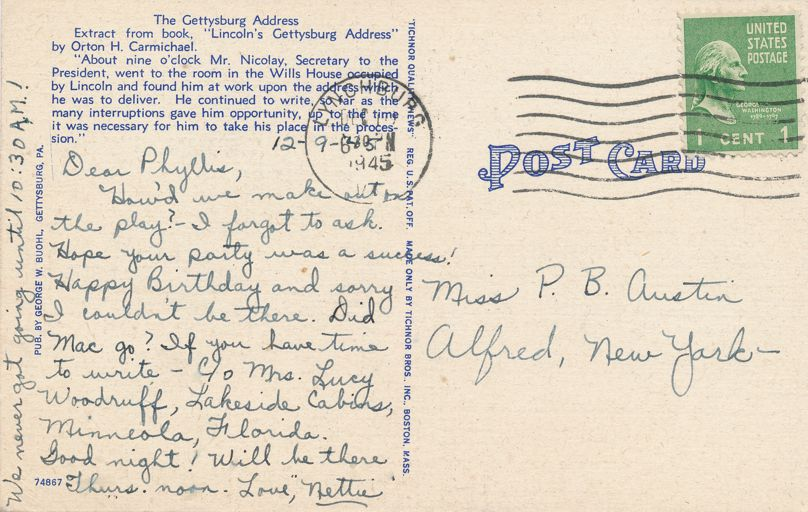 Gettysburg, Pennsylvania - The Square including YMCA and Masonic Temple - pm 1945 at Lynchburg PA - Linen Card