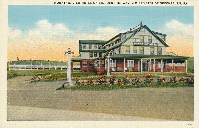 Greensburg, Pennsylvania - Mountain View Hotel on Lincoln Highway - Roadside - Linen Card