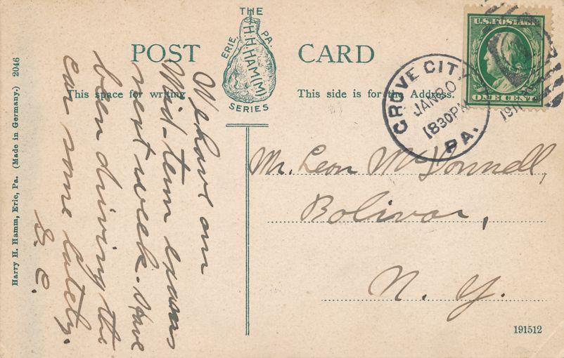 Grove City, Pennsylvania - Presbyterian Church - pm 1911 - Divided Back