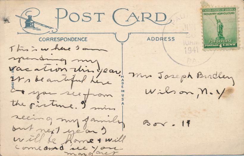 Greetings from Hawley, Wayne County, Pennsylvania - Moon over Lake - pm 1941 at Paupack PA - Linen Card