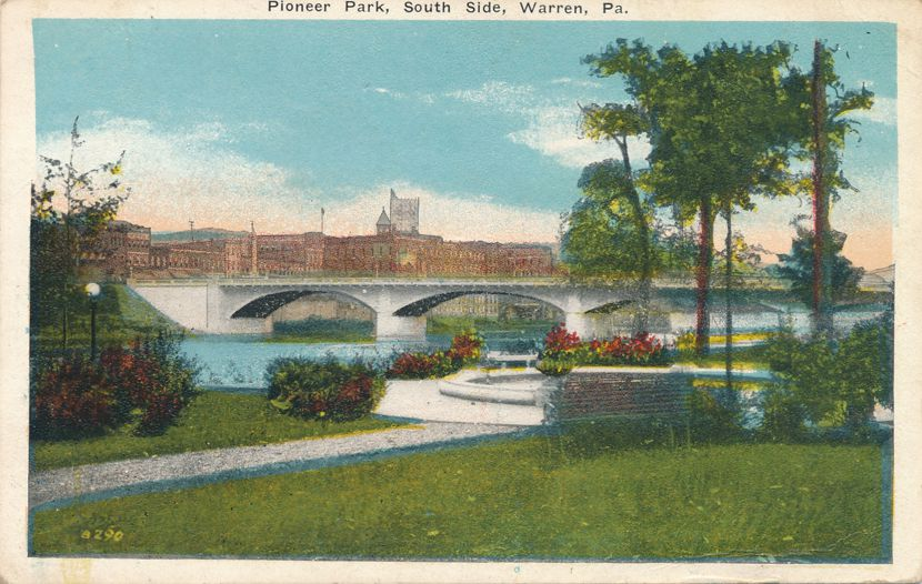 Warren, Pennsylvania on Allegheny River - Bridge South Side of Pioneer Park - pm 1920 at July - White Border