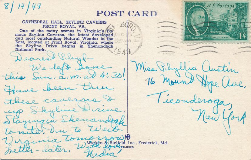 Front Royal, Virginia - Cathedral Hall at Skyline Caverns - pm 1949 at Wayneboro VA - Linen Card
