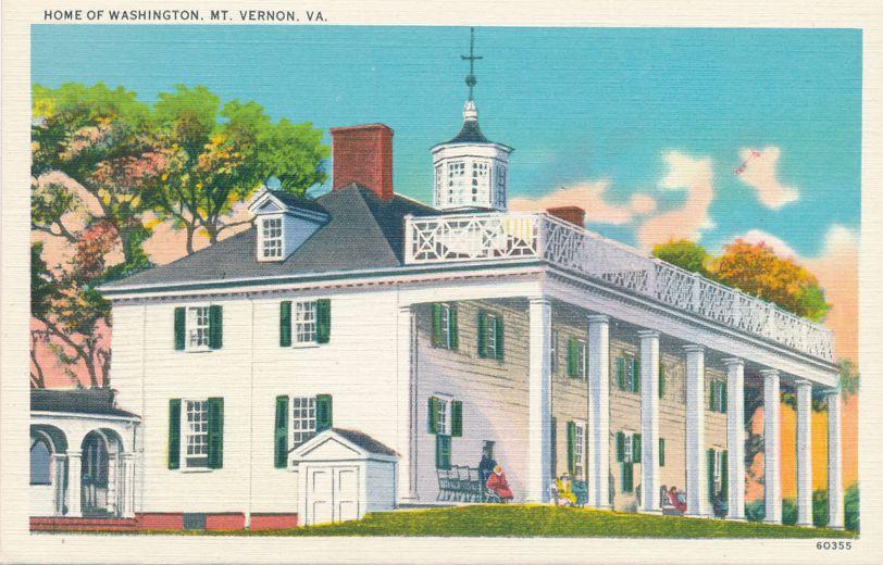 Mount Vernon, Virginia - Home of George Washington - Linen Card