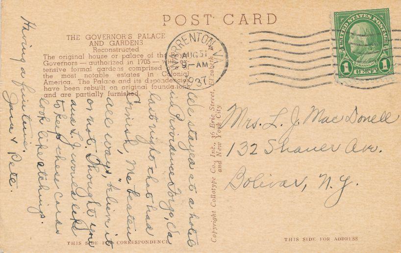 Williamsburg, Virginia - Colonial Coach at Governor's Palace - pm 1937 at Warrenton VA