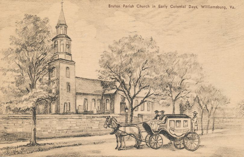 Williamsburg, Virginia - Coach and Horses at Bruton Parish Church - pm 1937 at Warrenton VA