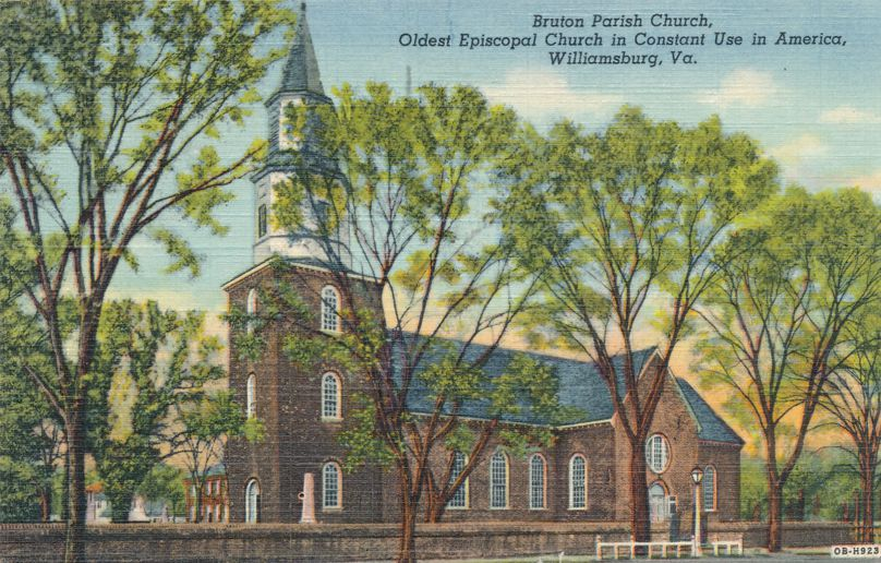 Williamsburg, Virginia - Bruton Parish ChurcH - Oldest Episcopal Church - pm 1950 at Fredericksburg VA - Linen Card