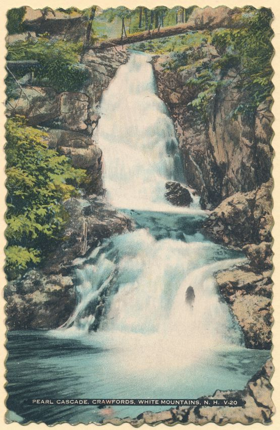 Crawfords, White Mountains, New Hampshire - Pearl Cascade - pm 1936 at Bartlett NH - Linen Card