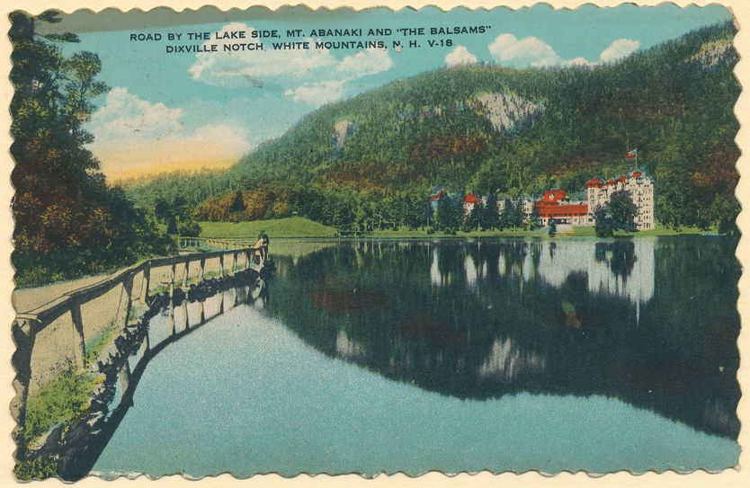 Dixville Notch, White Mountains, New Hampshire - Lake Side and Mt Abanaki - pm 1936 at Bartlett NH - Linen Card