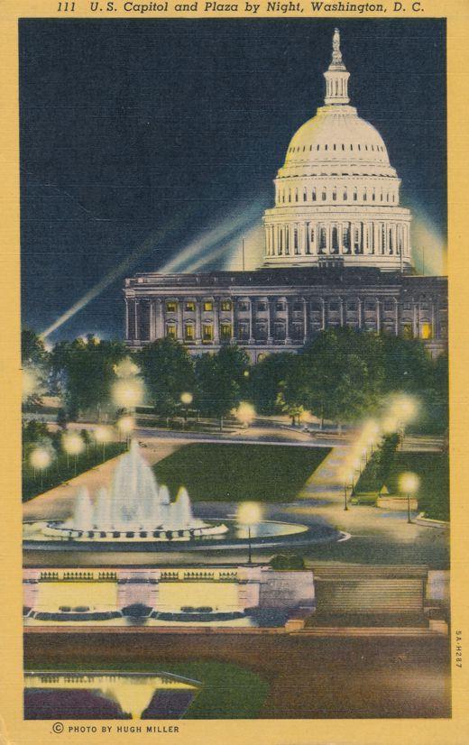 Plaza By Night at U.S. Capitol, Washington, DC - pm 1954 - Linen Card