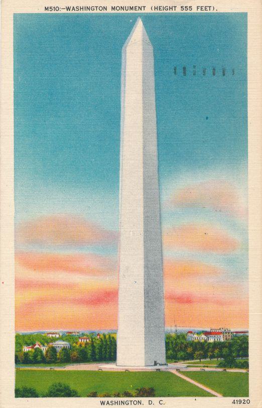 Washington Monument at Sunrise, Washington, DC - pm 1954 - Linen Card