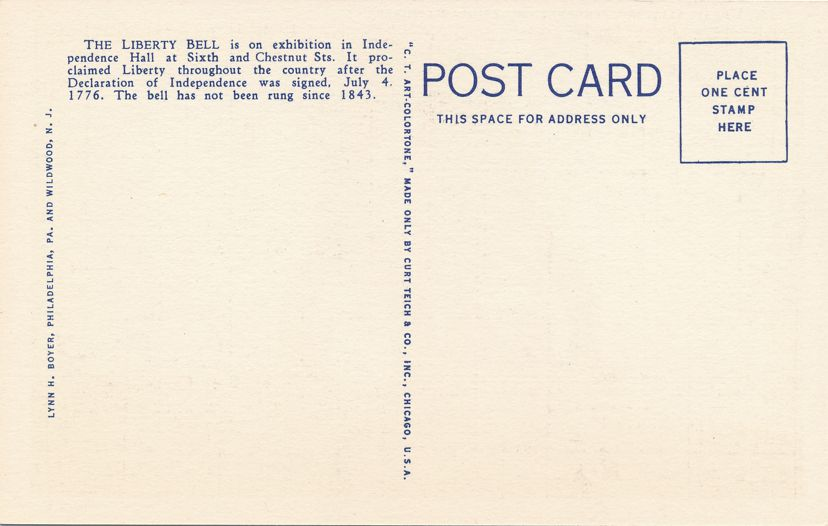 Philadelphia, Pennsylvania - Liberty Bell at Independence Hall - Linen Card