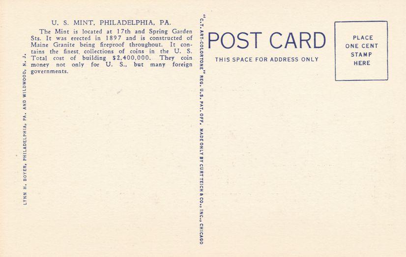Philadelphia, Pennsylvania - The United States Mint - Linen Card