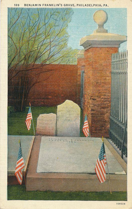 Philadelphia, Pennsylvania - Grave of Benjamin Franklin - pm 1937 - White Border