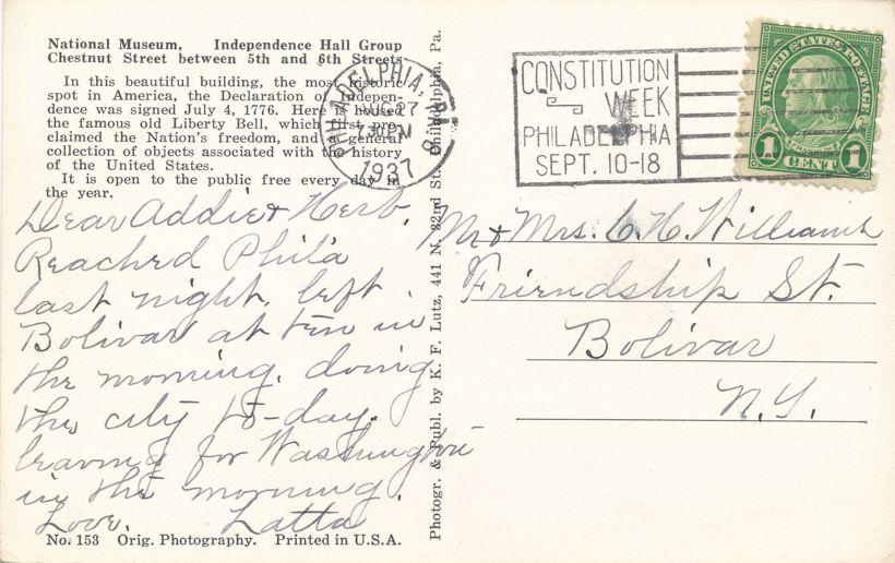 RPPC Philadelphia, Pennsylvania - Independence Hall - pm 1937 - Real Photo