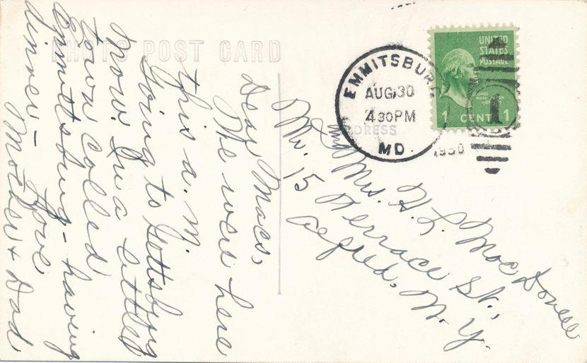 RPPC Arlington, Virginia - Geroge Washington Masonic National Memorial - pm 1950 at Emmitsburg MD - Real Photo