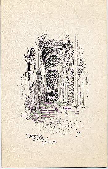 Etching of Durham Cathedral Nave, Durham, England - United Kingdom - Early 1900's