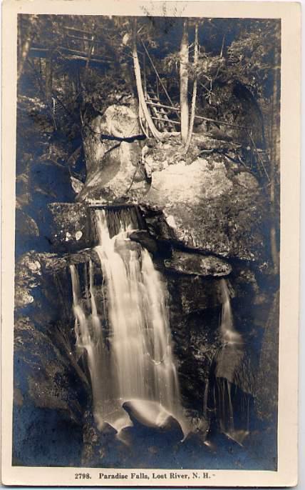 RPPC Paradise Falls, Lost River, New Hampshire - pm Boston, Massachusetts 1930