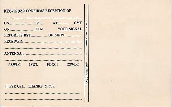 Short Wave Radio Listener's Card - Truk Islands - Eastern Caroline Islands - Micronesia