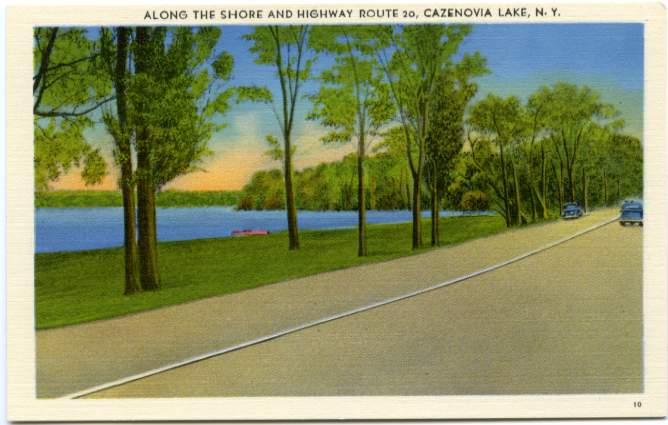 US Route 20 along Shore of Cazenovia Lake, Cazenovia, New York, Madison County, Linen Card
