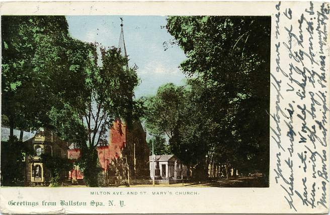 Milton Avenue and St Mary's Church, Ballston Spa, New York - pm 1906