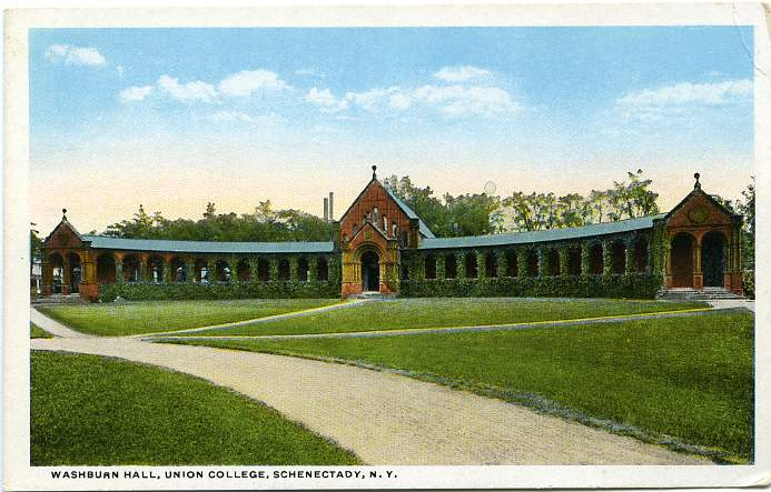 Washburn Hall at Union College, Schenectady, New York - 1915 - White Border
