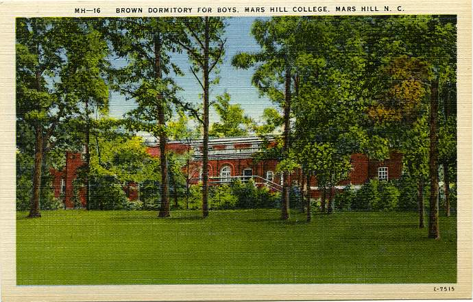 Brown Dormitory for Boys, Mars Hill College, Mars Hill, North Carolina - Linen Card
