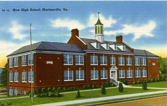 The New High School - Martinsville, Henry County, Virginia - Linen Card