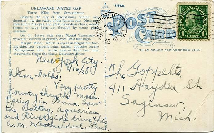Motoring Through the Gap, Delaware Water Gap, Pennsylvania - pm 1928 at New York - White Border