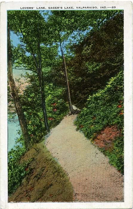 Lovers' Lane, Sager's Lake, Valparaiso, Indiana - White Border