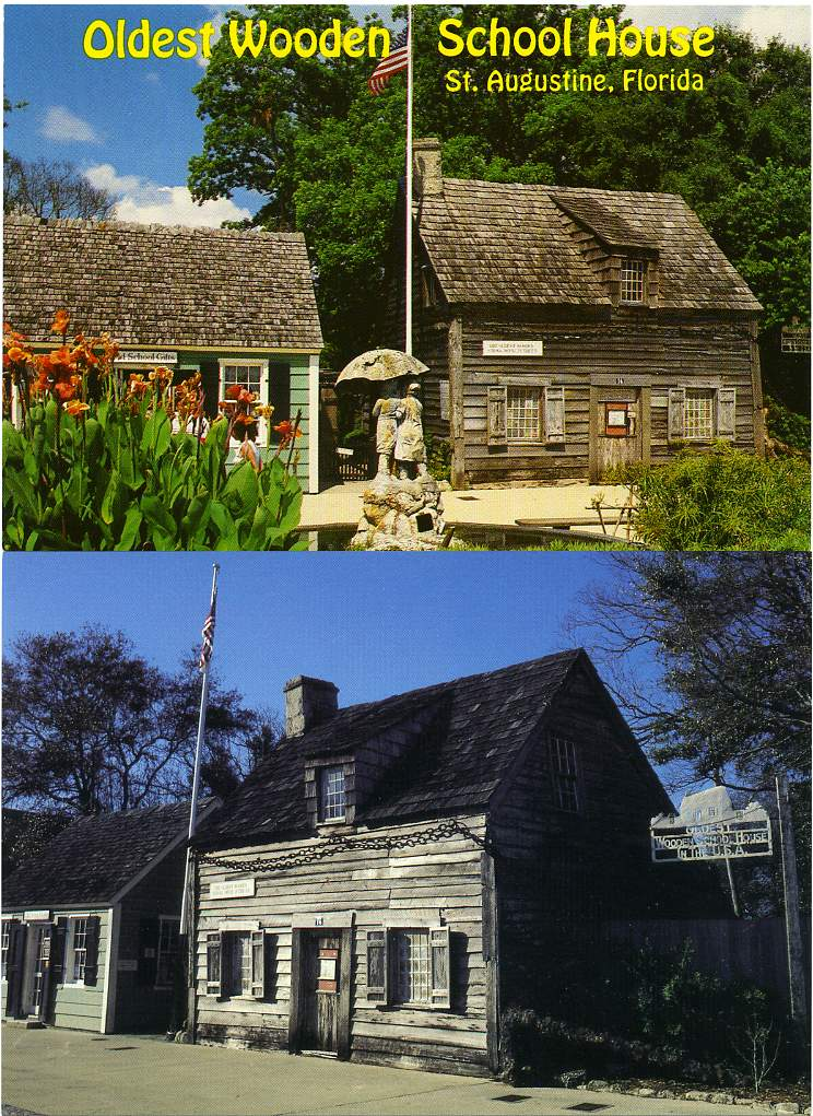(2 cards) Oldest Wooden School House, Saint Augustine, Florida - Built in 1763