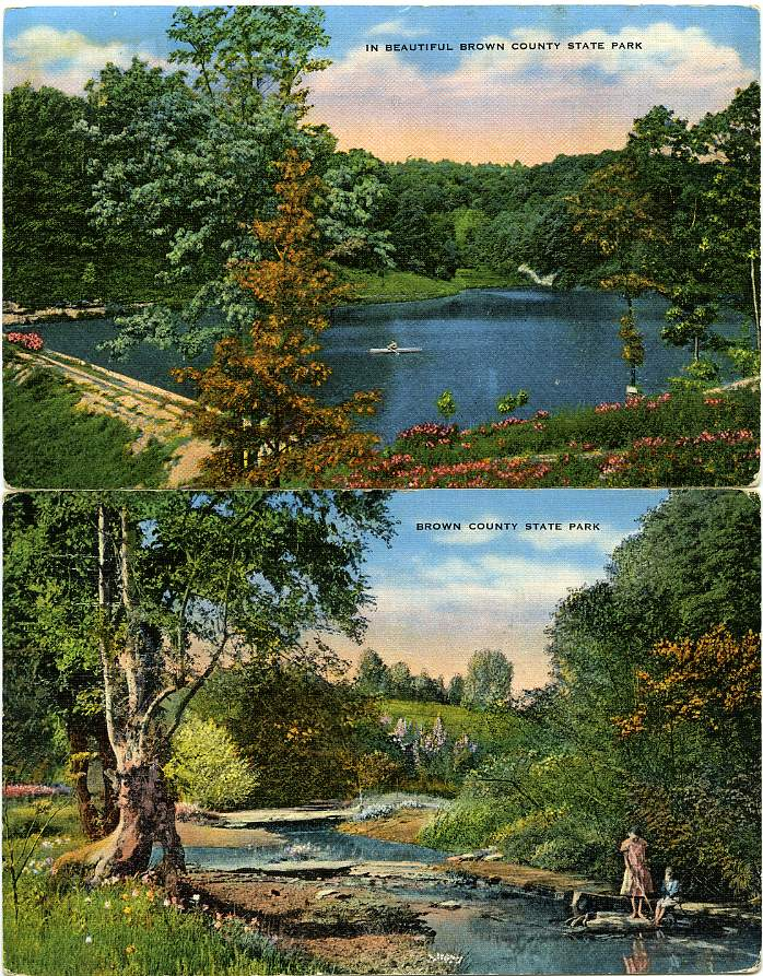 (2 cards) Beautiful Brown County State Park, Indiana - pm 1969 at Montello, Wisconsin