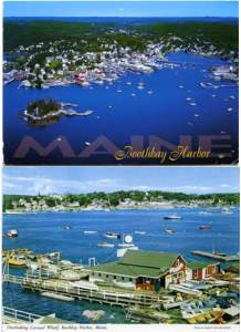 (2 cards) Boothbay Harbor and Carousel Wharf, Maine