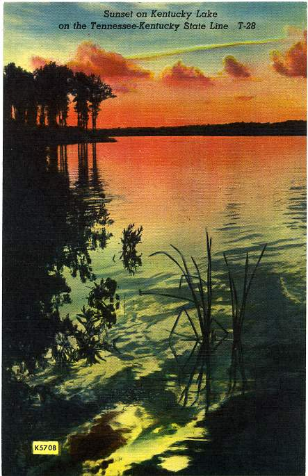 Sunset on the Kentucky Lake, On the Kentucky - Tennessee State Line - Linen Card