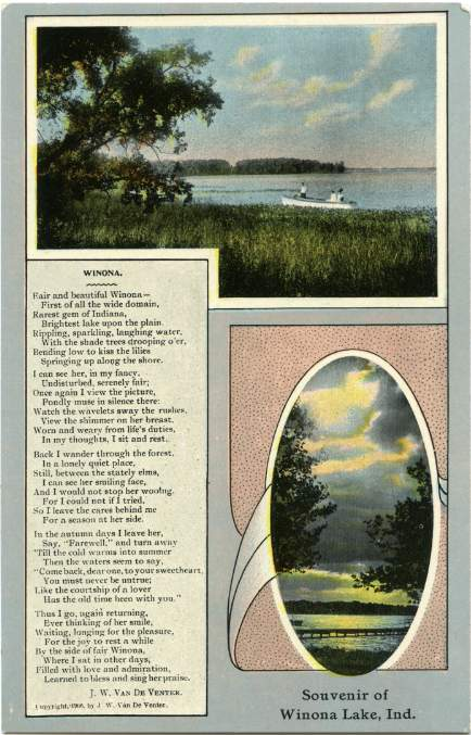 Souvenir of Winona Lake, Indiana - Poem by J. W. Van De Venter - Copyright 1906 - Divided Back