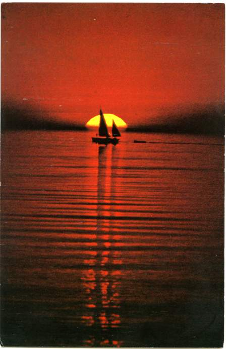 Sailboat in Summer Sunset on Lake Ontario - New York State - pm 1979 at Syracuse