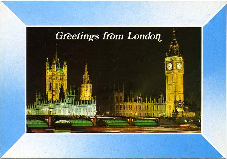 Greetings from London, England, United Kingdom - pm 1987