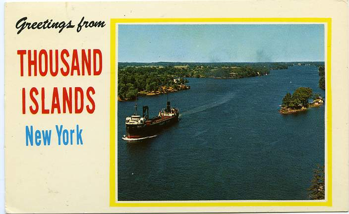 Greetings from Thousand Islands, New York - View from Thousand Island Bridge - pm 1971