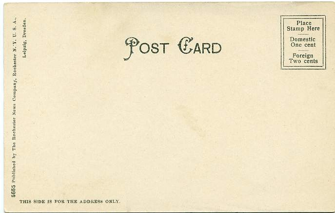 The Post Office at Auburn, New York - Undivided Back