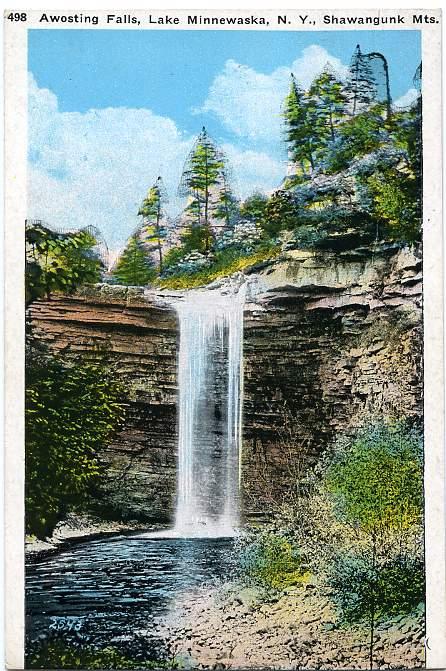Awosting Falls - Lake Minnewaska - Shawangunk Mountains - New York - White Border