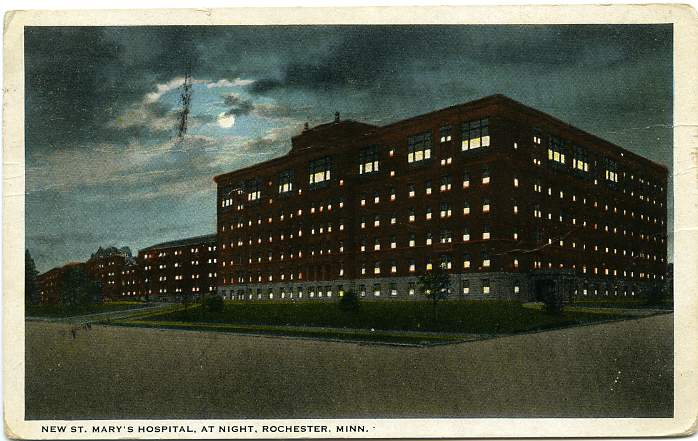 The New St Mary's Hospital at Night - Rochester, Minnesota - pm 1923