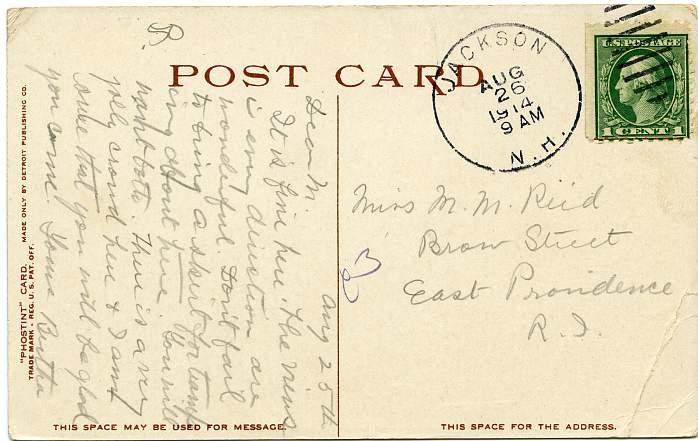 Mt Washington from Hall's Ledge - Jackson, New Hampshire - pm 1914 - Divided Back - Det Pub