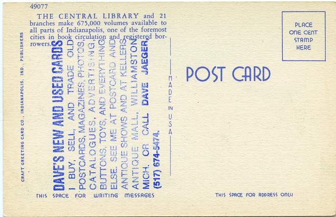 Public Library - Indianapolis, Indiana - Linen Card