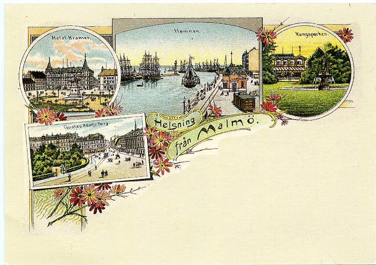 Facsimile of handcolored postcards of Sweden from early 1900's - pm 1997