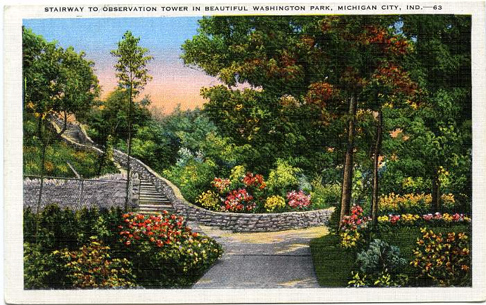 Stairway to the Observation Tower - Washington Park - Michigan City, Indiana - Linen Card