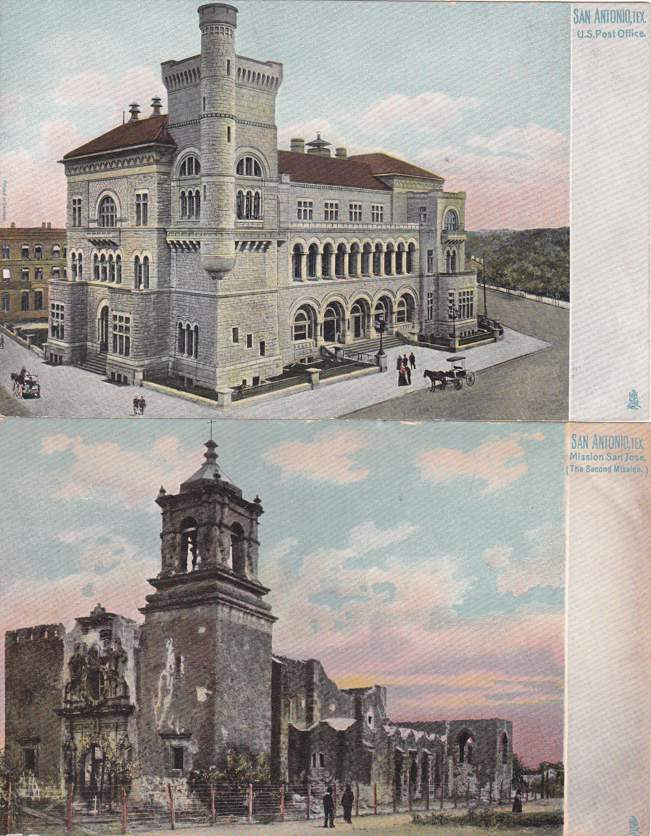 (2 cards) Post Office and Mission San Jose - San Antonio, Texas - Undivided Back