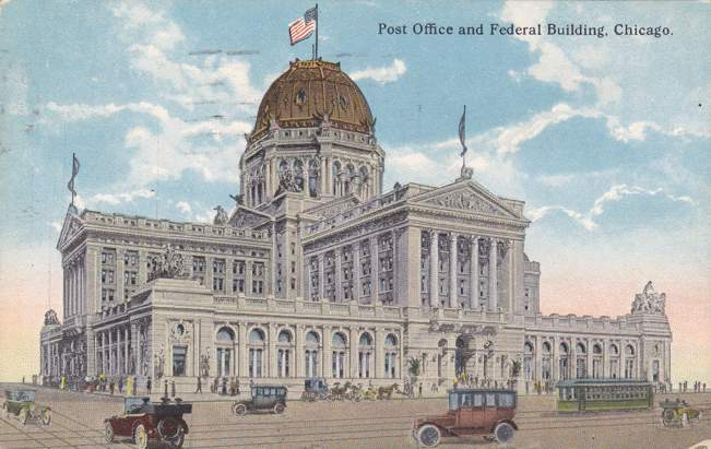 Post Office and Federal Building - Chicago, Illinois - pm 1916 at Moline - Divided Back