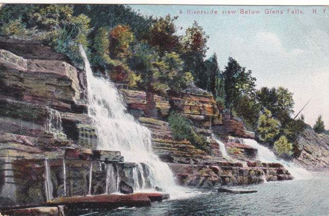 Riverside View below Glens Falls, New York - pm 1908 - Divided Back